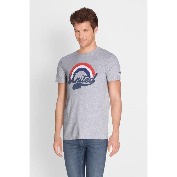 CAMPS T-shirt Manches Courtes - Homme - Gris et Rouge