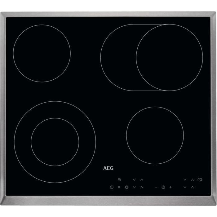 AEG HK634060XB, Intégré, Céramique, Verre-céramique, Noir, 750 W, Rond