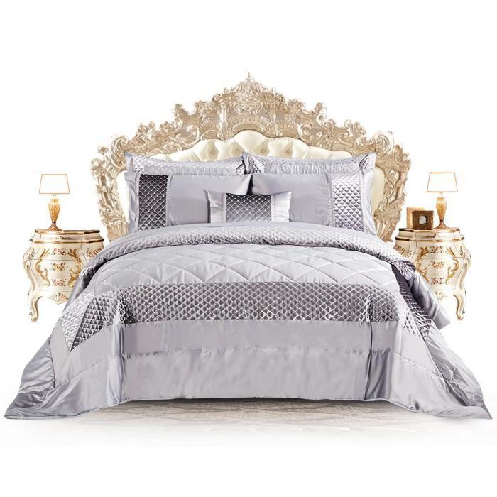 AMEHA Belle couvre-lit matelassé à paillettes Atlanta / couette avec couvre-oreillers