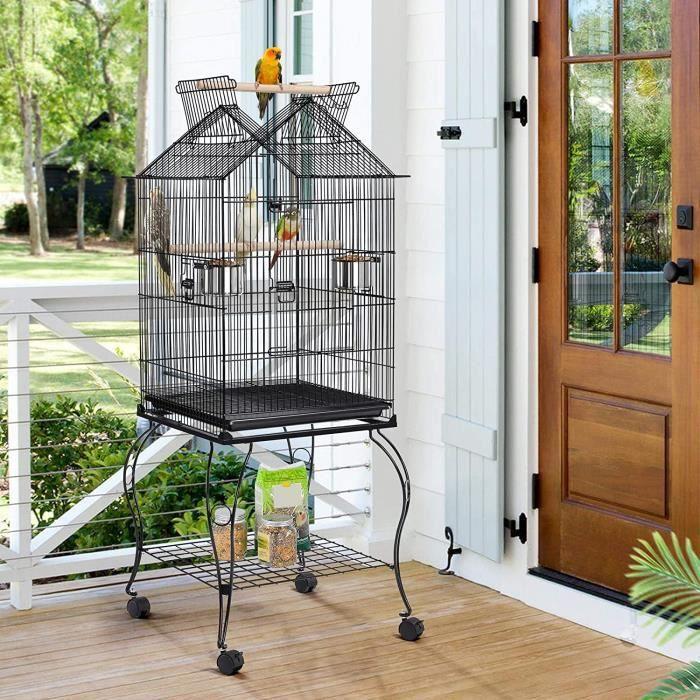 YIS Cage Oiseaux Portable Toit Ouvrable Design, Volière en Métal à Roulettes - 2 Mangeoires / 2 Perchoirs - Noir 59 x 59 x 145 cm