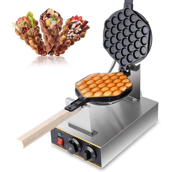 Gaufrier Électrique 220V 1400W Bubble Waffle Gaufrier Antiadhésif, Plaque Pan Outil pour Gaufres Oeuf Bulle Gâteau Crêpe, 0-250℃