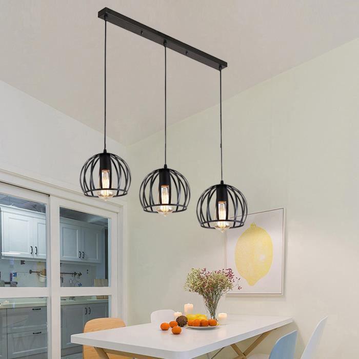 MOGOD Suspension Lampe long pôle Noir 3 Luminaires Lustre Plafonnier en Fer Vintage Brillant Lampe pour Salon Cuisine