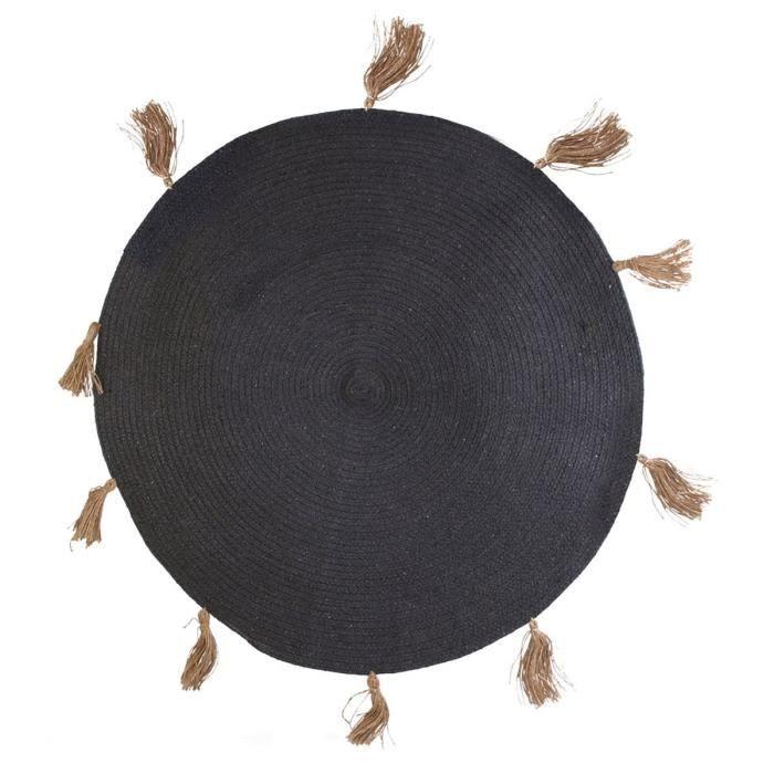 Tapis rond coton pompon gris 90 cm Ø 90 Gris