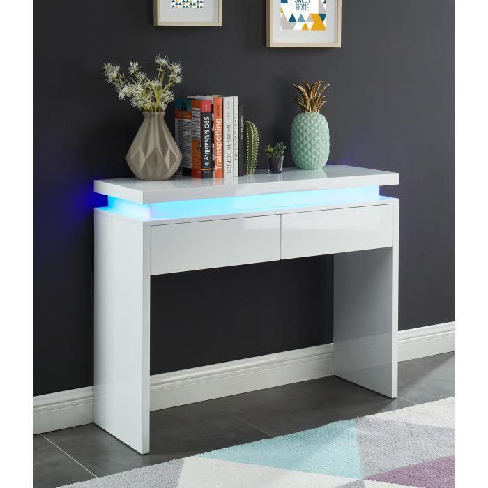 COSMOS Console à LED - laqué blanc brillant - L100 cm