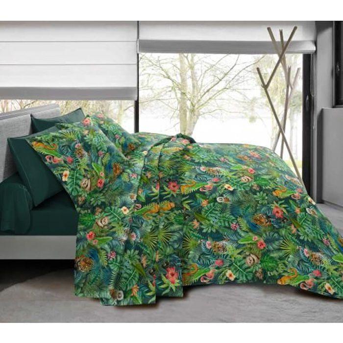 Pack complet Jungle Vert housse de couette pour lit 90 x 190 cm 100% coton / 57 fils/cm²