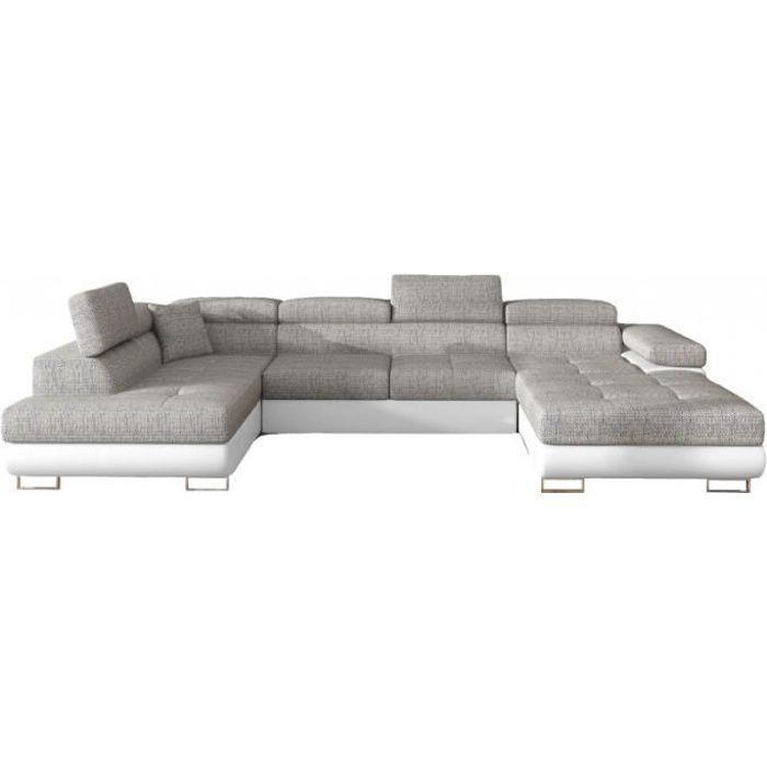 Canapé Design Convertible Panoramique U Rodrigo - Gauche - Tissu gris clair - PU blanc