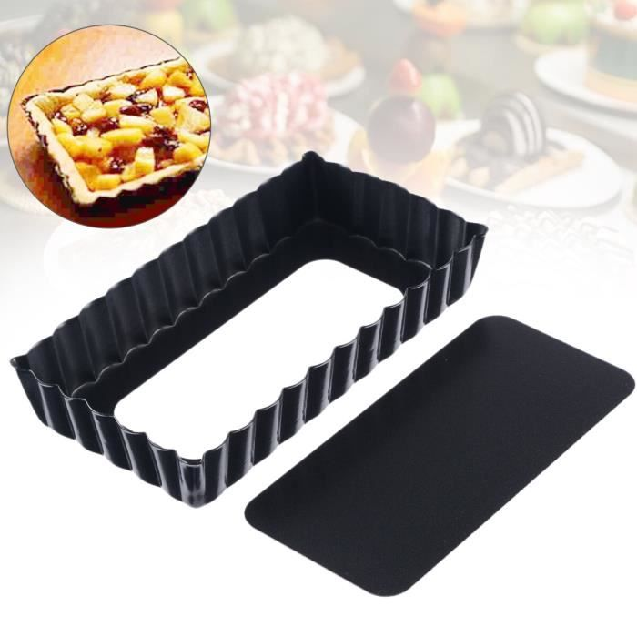 Moule à tarte antiadhésif rectangulaire Poêle à tarte avec fond amovible plateau de cuisson 1 pièce
