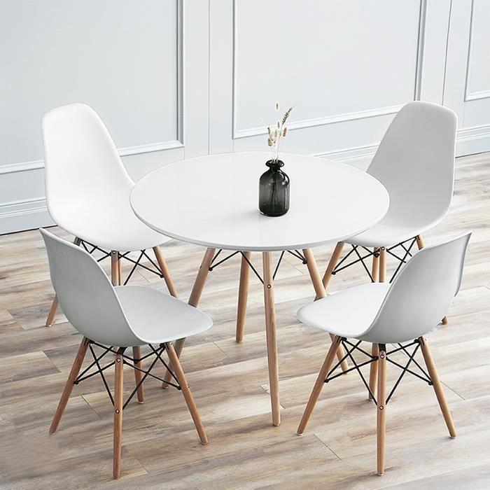 Table à Manger Ronde De Jardin Style Scandinave Blanc Laqué ,L 70 cm,Pieds bois,cuisine