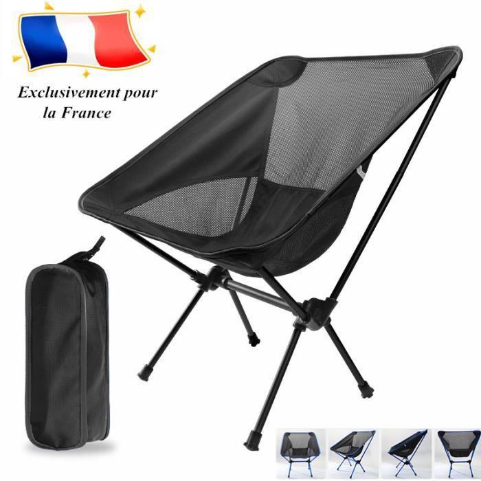 Chaise de Camping Pliante Chaise Pliable Légère Outil de pêche de siège de pique-nique de plage portable de camping plein air-Noir
