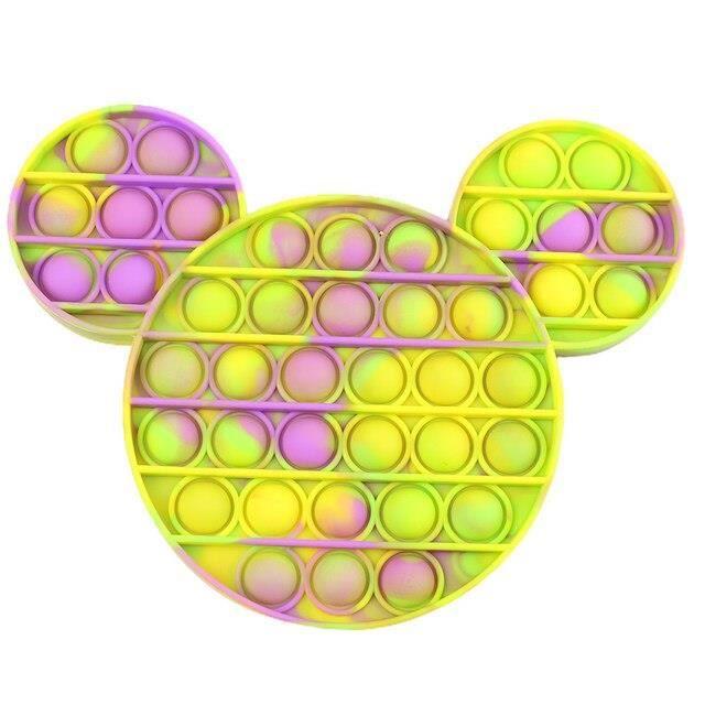couleur Mickey-III anti-stress jouets Minnie Mickey Mouse, anti-stress, pop-pop, bulle sensorielle, en silico