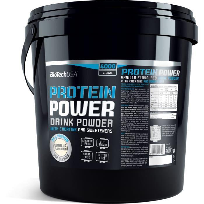 Protein Power 4kg FRAISE-BANANE Biotech USA Proteine de Whey Caseine Soja Creatine Glutamine et BCAA