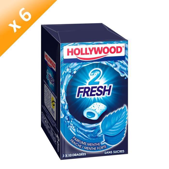 Hollywood 2Fresh chewing-gum menthe fraîche sans sucres 30 dragées - LOT DE 6