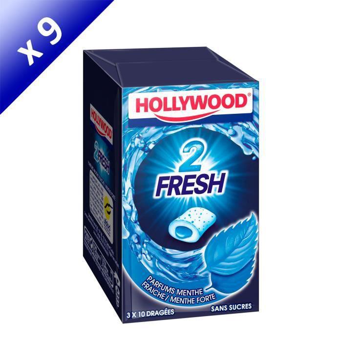 [LOT DE 9] Hollywood 2Fresh chewing-gum menthe fraîche sans sucres 30 dragées