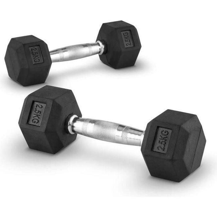 CAPITAL SPORTS Hexbell - Paire d'haltères courts pour musculation, cross-training… (caoutchouc résistant , prise chromée) - 2x 2,5kg