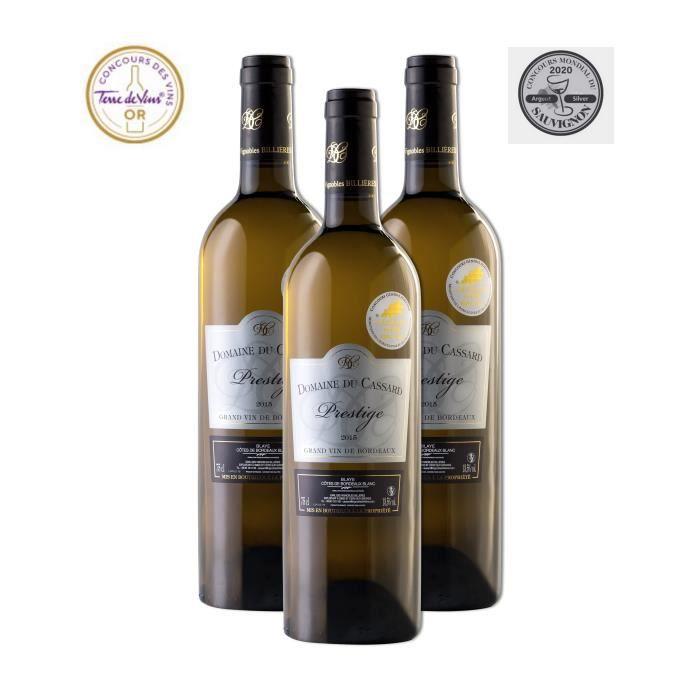 Domaine du Cassard Prestige - Blaye Côtes de Bordeaux Blanc- Médaille d'Argent au concours du sauvignon 2020 - Lot de 3 bouteilles