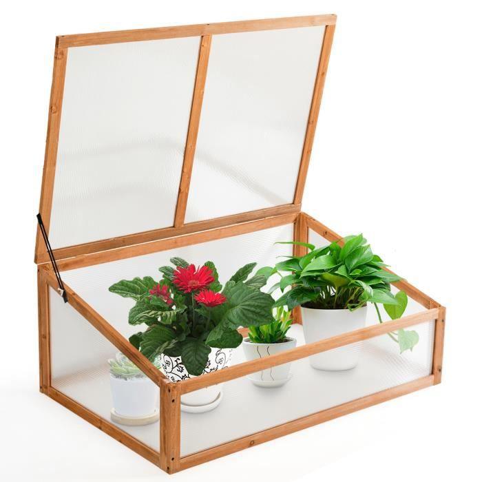 DREAMADE Serre de Jardin, Matériau de Haute Qualité en Sapin avec Vitrages Amovibles dans Jardins, Balcons pour Plantes, Fleurs