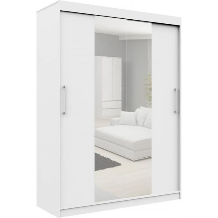 HELIA - Armoire à portes coulissantes + grand miroir - 200x150x60cm - Grande armoire - Penderie - Blanc