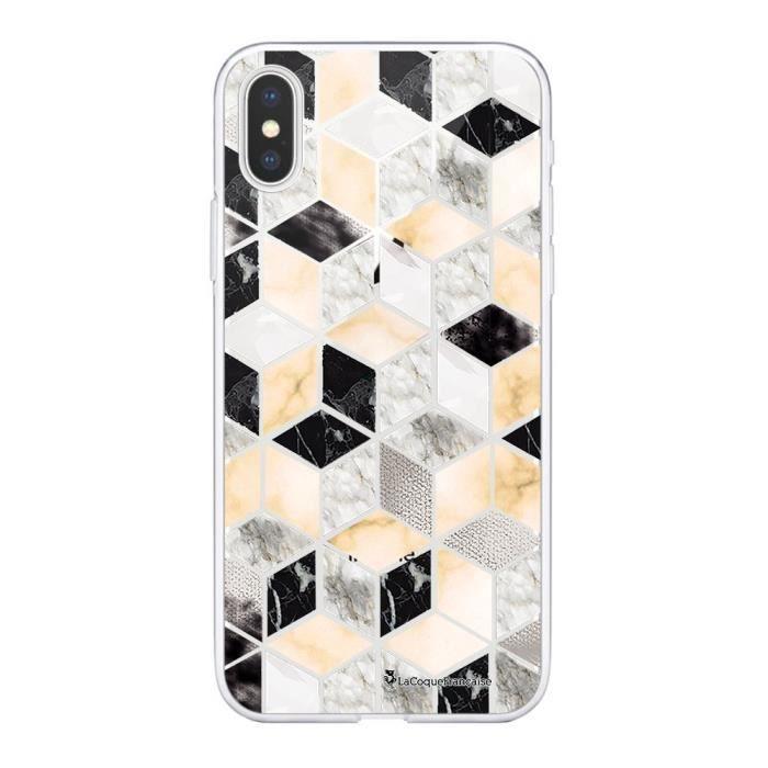 Coque iPhone Xs Max 360 intégrale Carrés marbre Ecriture Tendance Design La Coque Francaise