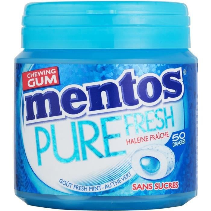 MENTOS GUM PURE FRESH Bottle de 50 dragées sans sucres - Fresh mint
