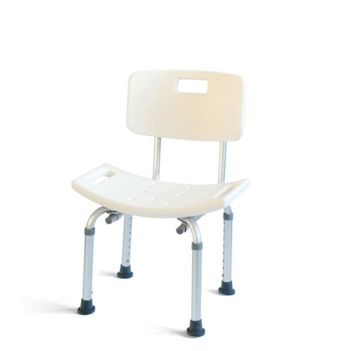 MILL'O SANTE Chaise de douche - Plastique ABS et aluminium léger - Blanc - 3,5 kg - Hauteur : 33 – 43 cm