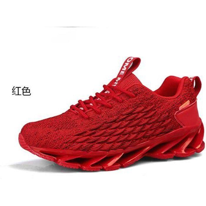 Chaussures de course pour hommes, baskets en maille respirante-rouge