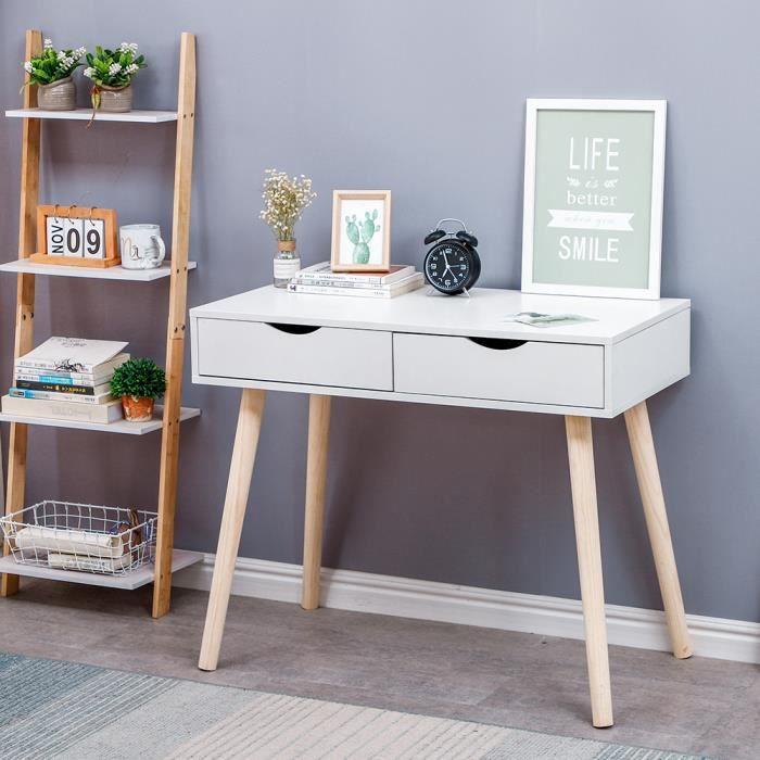 Blanc Table Plan de travail / Table de Bureau avec 2 tiroirs / coiffeuse