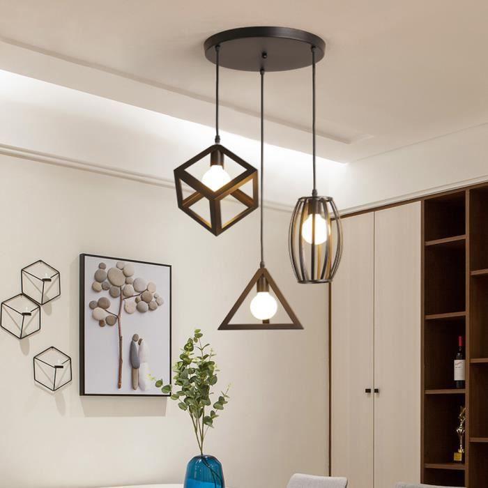 Suspension Luminaire Vintage Cage Métal, Lustre Industriel 3 Lampes E27 Corde Ajustable pour Salon Cuisine Chambre