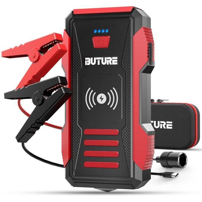 Batterie 2500A 23800mAh Démarrage de Voiture (Tout Gaz ou 80 L Diesel) Chargeur sans Fil10W et Portable Jump Starter 2 en 1