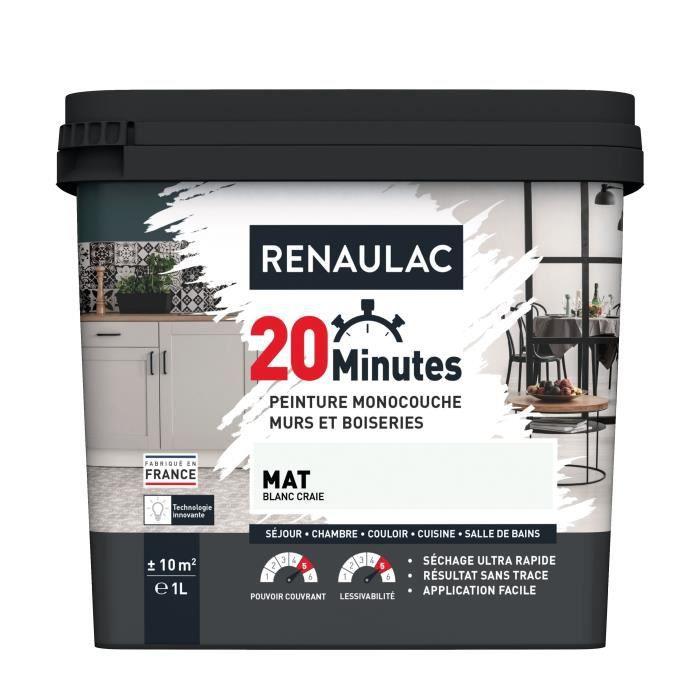 RENAULAC Peinture intérieur monocouche 20 Minutes murs et boiseries - 1L - 10 m² - Blanc craie Mat