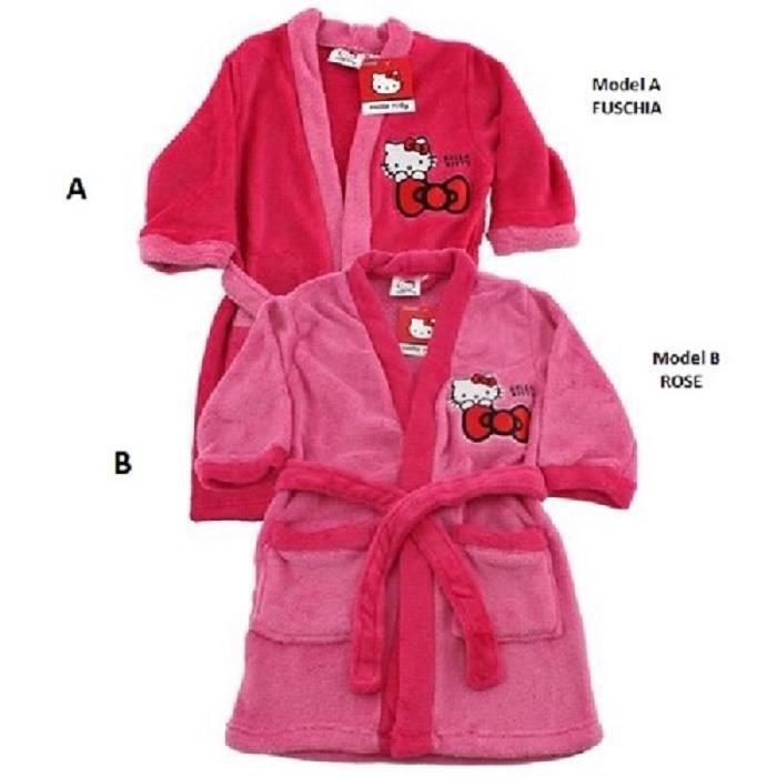 Robe de chambre / Peignoir de nuit très doux HELLO KITTY Sanrio * 100% polyester * NEUF model aléatoire * de 3 a 8 ans