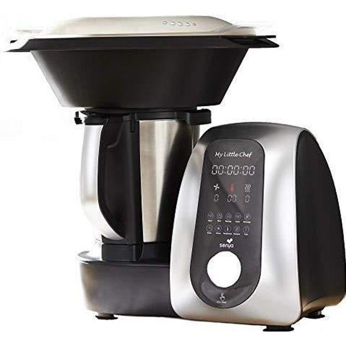 Senya Robot De Cuisine Multifonction My Little Chef noir et silver, 13 programmes automatiques 10 vitesses, site recettes dédiée,