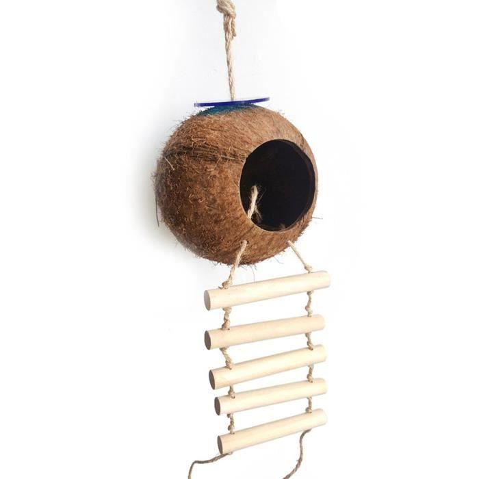 Nid d'oiseau nid de noix de coco nid naturel coco avec échelle oiseau jouet pour perruches Perruche ondulée et petit ani