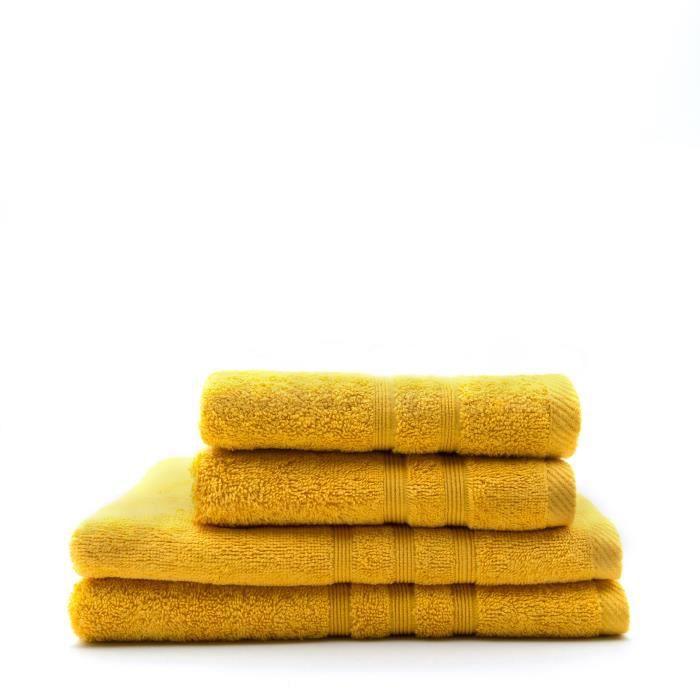 TODAY Lot de 2 Serviettes 50 x 100 cm + 2 Draps de bain 70 x 130 cm - 100% Coton - Safran