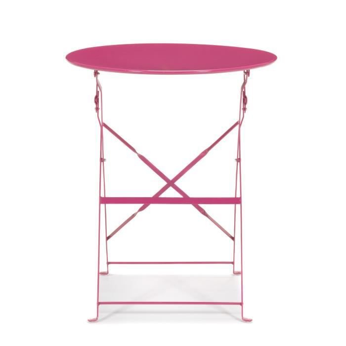 Pims table de jardin ronde pliante rose achat vente for Table de bistrot pliante