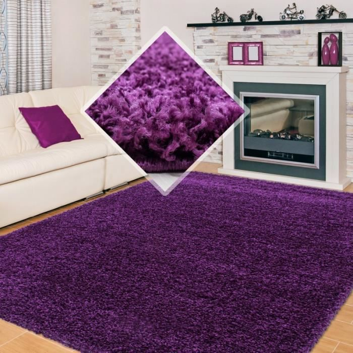 tapis shaggy pile longue couleur unique violet 200x290 cm achat vente tapis cdiscount. Black Bedroom Furniture Sets. Home Design Ideas
