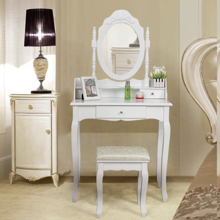 miroir de coiffure table coiffeuse avec tabouret achat. Black Bedroom Furniture Sets. Home Design Ideas