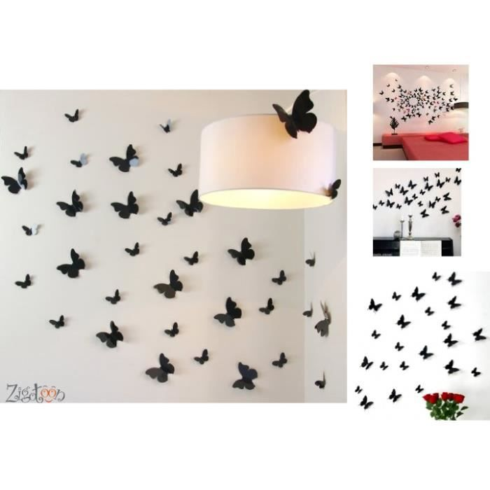 Stickers papillons 3d noirs d coration murale achat for Decoration murale 3 suisses