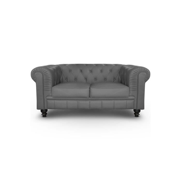Canap chesterfield 2 places cuir pu gris achat vente canap sofa div - Canape chesterfield cuir gris ...