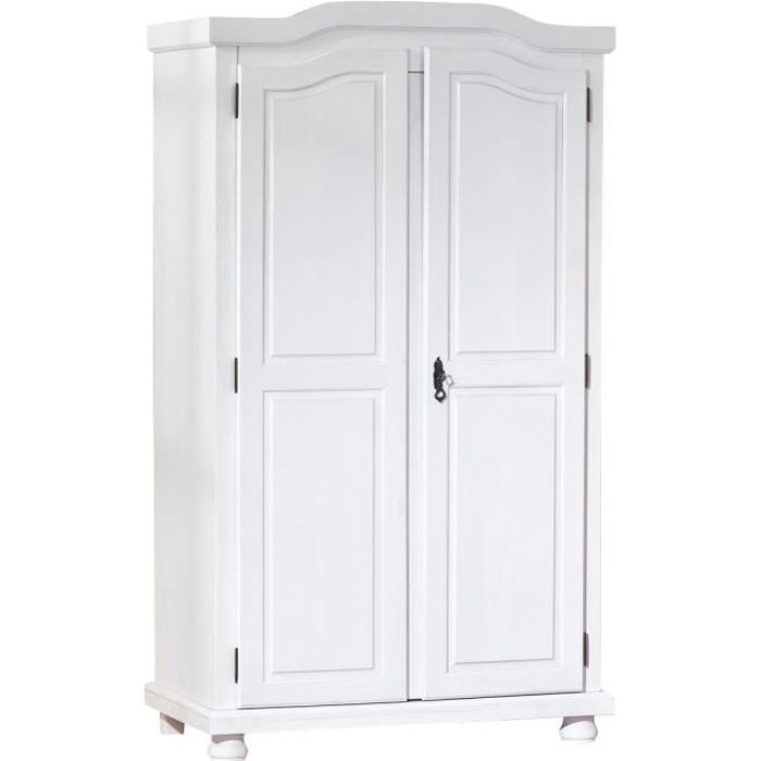 armoire hedda penderie chambre meuble tag res 2 portes bois massif blanc dim 560x1800x1040. Black Bedroom Furniture Sets. Home Design Ideas