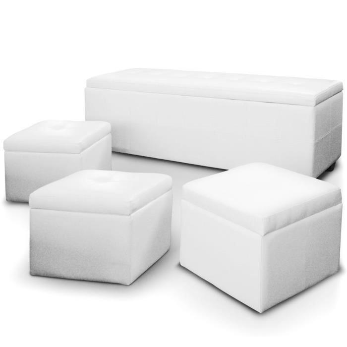 banquette coffre triange 3 poufs blanc achat vente banc croute de cuir cdiscount. Black Bedroom Furniture Sets. Home Design Ideas