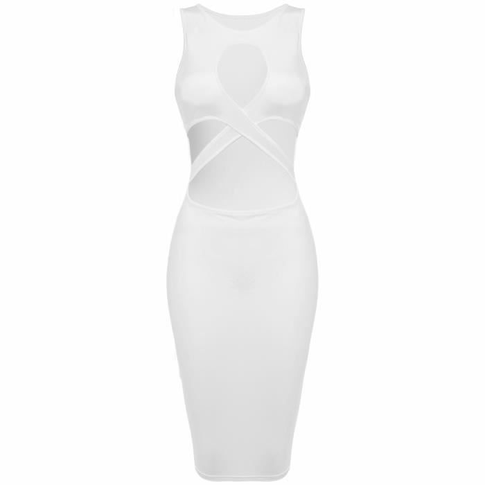 Robe femme Finejo Sexy sans manches découpe Bandage Bodycon Stretch robe