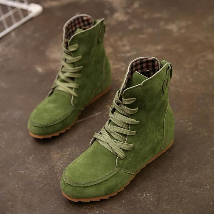 xiezi Snow Boots Flat up Leather Femmes Female Boot Green 5632 Motorcycle Suede Lace Ankle 7qfIUIgnw