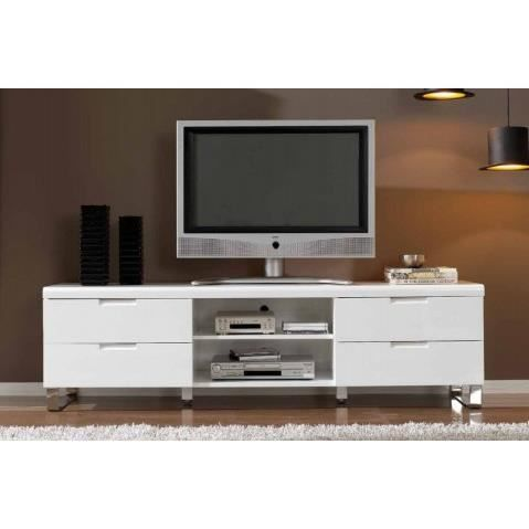Meuble tv design blanc laque milka achat vente meuble for Photo meuble tv design