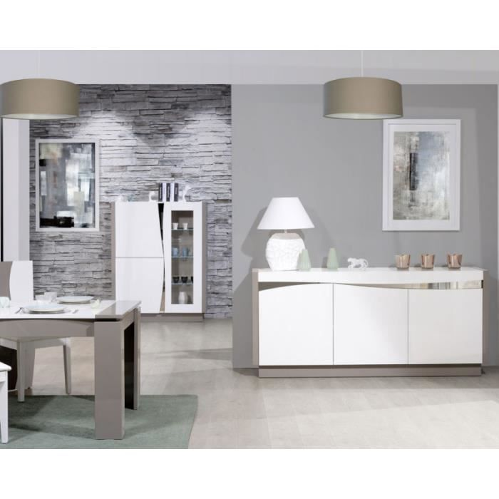 Salle A Manger Complete Taupe Blanc Brillant Chantale L 170