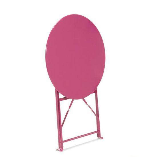 Pims Table de jardin ronde pliante - Rose - Achat / Vente ...