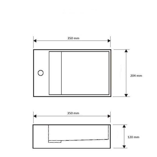 35 cm en Solid surface Manita G Vasque suspendue ou /à poser