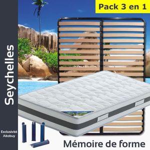 ENSEMBLE LITERIE Seychelles - Pack Matelas + Lattes 130x190 + Pieds