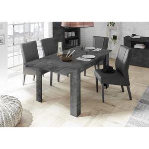 TABLE À MANGER SEULE Table à manger 140 cm gris anthracite + rallonge 5