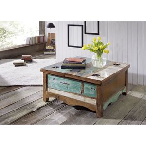 TABLE BASSE Table basse coffre 90x90cm - Bois massif recyclé m