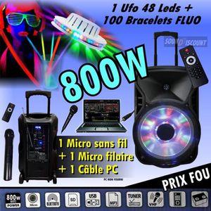PACK SONO ENCEINTE SONO 800W PORTABLE KARAOKÉ USB BLUETOOTH